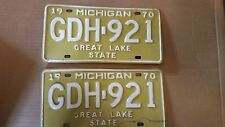 1970 MICHIGAN STATE LICENSE PLATES MATCHED SET PAIR GDH-921 FORD CHEVY PONTIAC