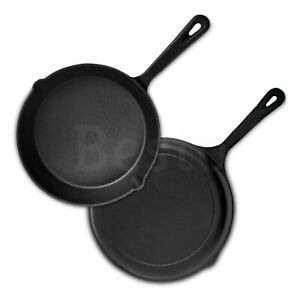 Frying Pan Pre-Seasoned Safe Cast Iron Skillet Griddle BBQ Cookware 16/20/25cm