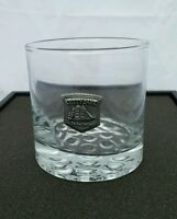 Cutty Sark Glass Whiskey Barware Pewter Emblem Logo Clear Glass knobbed bottom