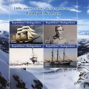 Madagascar Ships Stamps 2021 MNH Fridtjof Nansen Exploration Explorers 4v M/S