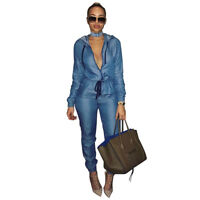Women Hooded Long Sleeve Blue Jeans Denim Jumpsuit Fall Loose Pants
