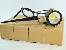 """Set of 4 12V LED Lawn Lights 12W 2800-3200K Wired w/ 6"""" Metal Spikes"""