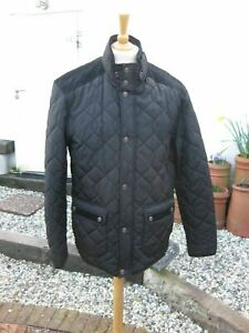 NEXT Quilted Black Coat ~ Large ~ Mens ~ Fleece-Lined ~ Corduroy Details