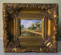 Sehr kleines Ölgemälde Lupenmalerei 7x9 Sommerliche Landschaft