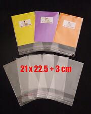 100 CELLOPHANE BAGS - 21 cm x 22.5 cm +3 cm lip - SELF SEAL - Free Postage