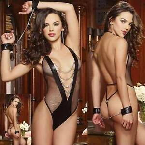 Women Lady Sexy Lingerie Bodysuit Chains Mesh G-String Sleepwear Cosplay Outfit