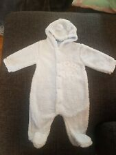 Bebe Bonito 3-6 Months Baby Blue Fur Snowsuit All In One  BNWOT
