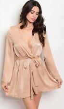 Tan/Beige Satin Wrap Dress (Size L)