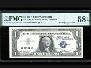 1957 $1 Silver ⭐️STAR *A Block Fr. 1619* PMG 58 EPQ Serial *02005616A