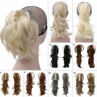 Ponytail Claw Clip In On Hair Extensions Thick Natural Short Pony Tail Party