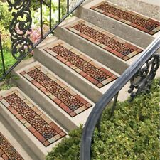 Set of 5 Stone and Pebbles Rubber Porch Patio Stair Treads