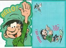 "GASTON LAGAFFE Franquin maxi carte postale "" Hello"" 21x14 cm + enveloppe imprimé"