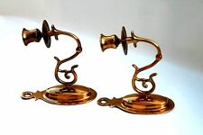 Brass Wall Sconce Candle Holder Set Pre Owned Scroll design for tapered candles