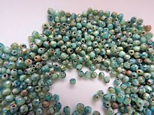 Czech fire polished small glass beads picasso green 3 mm pack of 100