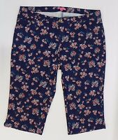 Woman Within Womens Pants Stretch Denim Capri Jeans Blue Floral 22W Pants JQ1812