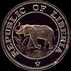 LIBERIA. 1 Cent, 1974 - Elephant, Proof, RARE