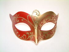 MASQUERADE FANCY DRESS HEN PARTY LADIES RED & GOLD GLITTER EYE MASK NEW