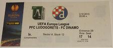 Ticket fo collectors EL Ludogorets Razgrad Dinamo Zagreb 2013 Bulgaria Croatia