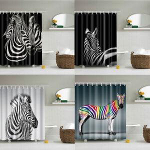 "Square Black ?? White Animal Zebra Fabric Shower Curtain Set Bathroom Decor 71"""