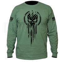 American Warrior Flag Skull Military Long Sleeve Punisher T-Shirt