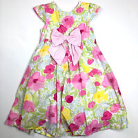 Gymboree Girls 7 Pink Green Yellow Floral Special Occasion Dress