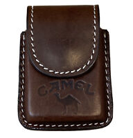 NEW Camel Cigarettes Leather Holder 4 Windproof Lighter/Zippo Magnetic Snap Case
