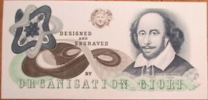 William Shakespeare Engraved Test/Sample Bank Note - 'Organisation Giori'