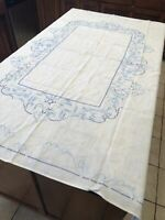 "Vintage Blue Embroidery Cross Stitch On White Rectangular Table Cloth 52"" x 66"""