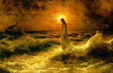 Christ Walking on the Waters  by Julius Klever  Giclee Canvas Print Repro