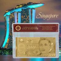 WR Singapur 1000 Dollar Goldfolie Banknote Mit Kunststoffhülle Für Sammlung