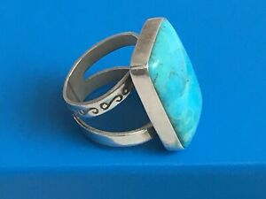 JAY KING TURQUOISE GENUINE GEMSTONE STERLING SILVER RING 6 ** See MORE        MG