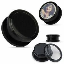 1 PAIR 0g Black Screw Fit Acrylic Ear Plugs ADD YOUR OWN PICTURE