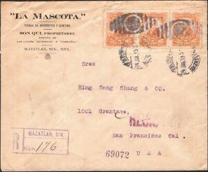 MEXICO, 1915. Reg Cover CGM 374 (3), Mazatlan - San Francisco