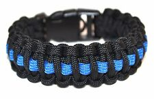 Deluxe Paracord Survival Bracelet Thin Blue Line with Handcuff Key Buckle
