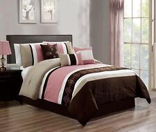 7 Piece Luxury Embroidery Bed in Bag Microfiber Comforter Set ,Pink, Queen SIze