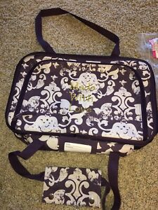 """Thirty One Perfect Party Set Vintage Damask Purp """"Made With Love"""" Embroider NEW"""