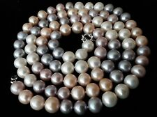 """Freshwater multi-colored pearl necklace 34"""" long, 94 pearls strand, 8.4 - 9.9mm"""