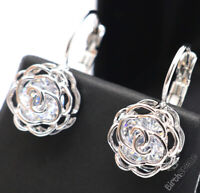 Sparkling Round Moissanite Earrings Women Jewelry Gift 14K White Gold Plated