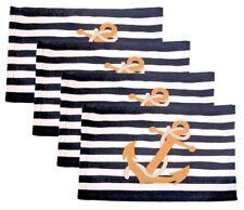 Anchor Canvas Placemat Nautical Navy White Stripes Set of 4 Beach Sea Life House