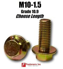 M10-1.5 x (Choose Length) Grade 10.9 Metric Flange Bolts Yellow Zinc Hardened