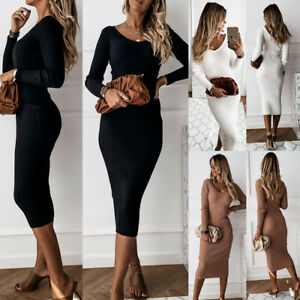 Womens Knit Jumper Midi Dress Long Sleeve Winter Party Cocktail Bodycon Dresses