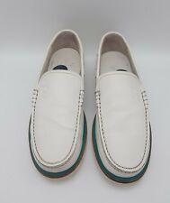 BALLY Swiss Handmade Womens 5.5 E White Leather Loafers Slip On In E U C
