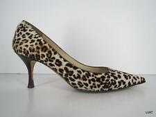 $775 JIMMY CHOO 40 10 Pony Hair Leather Leopard Animal Print Pointy Toe Pumps