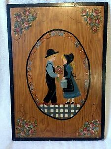 Checker board folk art 2 sided  ESTATE AUCTION FIND!