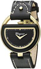 Ferragamo Women's FG5010014 BUCKLE Gold IP Steel DIAMOND Black Leather Watch