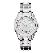 Bulova Precisionist Women's 96P115 Diamond Accents Quartz Silver Tone 30mm Watch