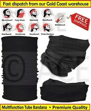 Mens Womens Multifunctional Neck Tube Bandana Headband Scarf Durag in Black