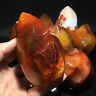 Natural carnelian flame Shape Quartz Crystal agate torch specimen Healing 400g+