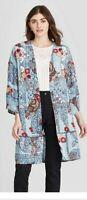 Small Women's Floral Print Long Sleeve Kimono Jacket - Knox Rose Blue/Pink