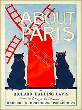 About Paris Black Cat Cats Vintage Travel Advertisement Art Poster Print